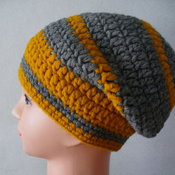 Crochet hat in two colours, striped hat, crochet hat, handmade womens accessories