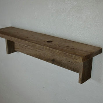 Simple natural wood wall hung shelf  22 wide 5 deep