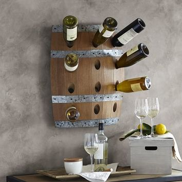 WALL MOUNT WINE BARREL WINE RACK