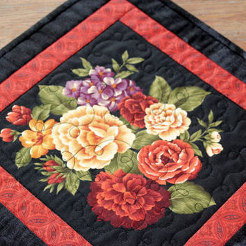 Floral Candle Mat - Table Topper - Table Mat - Rust Yellow Black Table Decor - Handmade Table Quilt