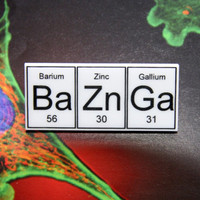 Bazinga.....BaZnGa .. periodic table inspired  brooch..with pin clasp