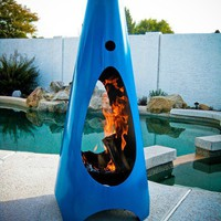 Modfire  Modern Outdoor Fireplace  Bright Blue by Modfire on Etsy
