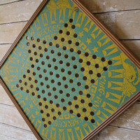 Vintage Retro Chinese Checker Board  Green an Yellow Rare