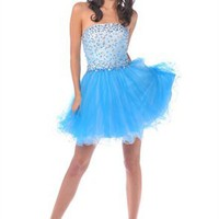 Couture A-line Strapless Knee Length Organza Cocktail Dress-$126.98-ReliableTrustStore.com