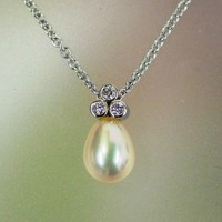 Freshwater pearl and diamond necklace 14k by PatrickIrlaJewelry