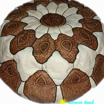 Moroccan Pouf Leather Pouf  white Leather Pillow Ottoman Poof Pouffe Pouffes hassock Footstool Ottomans Foot stool Chair