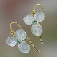 Blue Topaz Sterling and 18k gold Hydrangea by PatrickIrlaJewelry