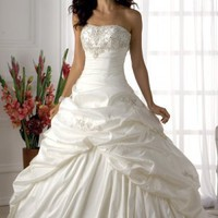 strapless taffeta wedding dress,wedding gown,bridal dress
