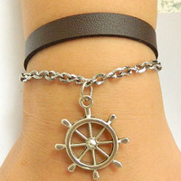 Bracelet - Sailing times rudder leather bracelet