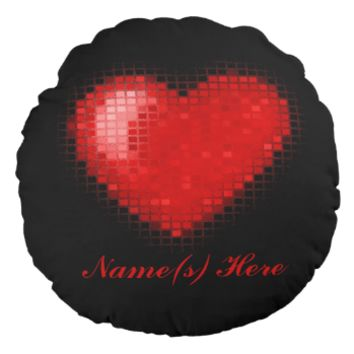 Tiled Mosaic Heart (Bright Red) Round Pillow