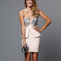 Lipsy Sequin Bust Peplum Dress