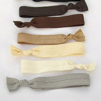 7 Elastic Hair Ties, Ombre Naturals by Lucky Girl