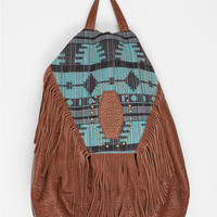 Ecote Leather Fringe Pattern Backpack