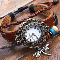 Leather Bracelet Watch,Leather Watch, Vintage,Classical ( SLW 10)