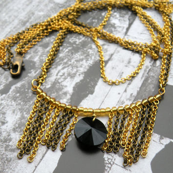 GYPSY Fringe Necklace Witchy Jewelry // Double Necklace with Jet Black Swarovski necklace // Witchy Necklace// Antique Brass ang Gold chains