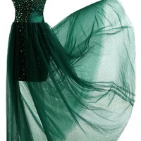 Sunvary Gorgeous 2015 Rhinestone Sheath Skirt Cocktail Prom Dress Cap Sleeves Evening Party Foraml Gowns for Banquet US Size 4- Dark Green