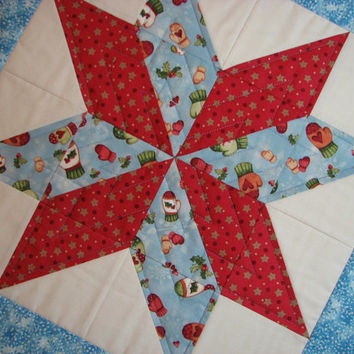 Quilted Christmas Table Topper--Rustic Blue and Red Star