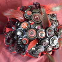 Goth Black Button Bouquet, Wedding, Drag Queen, Alternative, non traditional