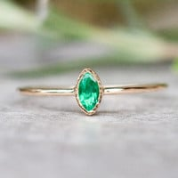 Natural emerald ring in 14k gold, emerald engagement ring, marquize gemstone ring, Made in your Size, promise ring