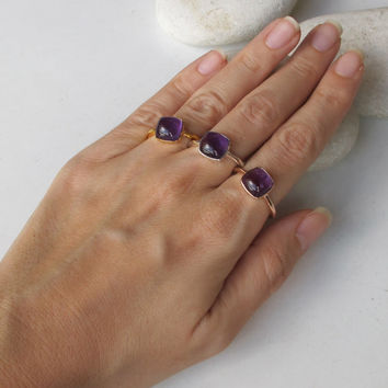 SALE Amethyst Ring- Cabochon Ring- Purple Gemstone Ring- Stone Rings- Purple Amethyst Ring- February Birthstone Ring- Rose Gold Ring