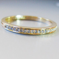 Micro Pave Diamond Eternity Ring 2mm in 14k Gold, handmade diamond band, tiny  diamond  wedding ring, engagement ring,  narrow wedding band