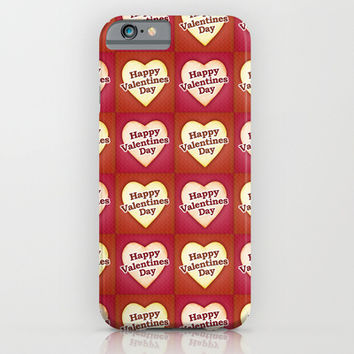 Heart Shaped Happy Valentine Day Text Design iPhone & iPod Case by DFLC Prints