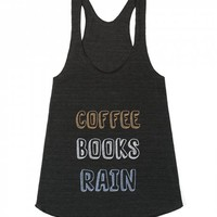 Coffee, Books, Rain-Unisex Athletic Tri Black Tank
