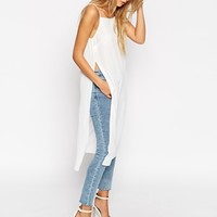 ASOS Long Line High Neck Cami with Side Splits