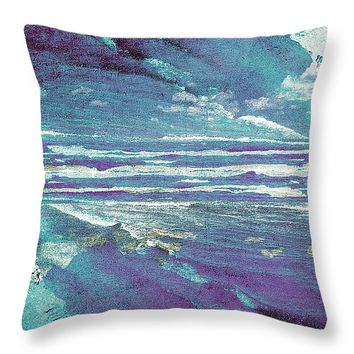 """Mirrored Sea 14"""" x 14"""" Throw Pillow for Sale by Shawna Rowe"""