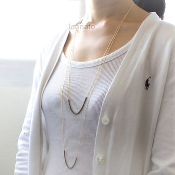 Tiny rings beads layered Long Necklace / choose the chain color