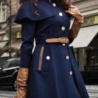New Women Coats Top, Fashion New Korean Style Ladies Deep-Bl