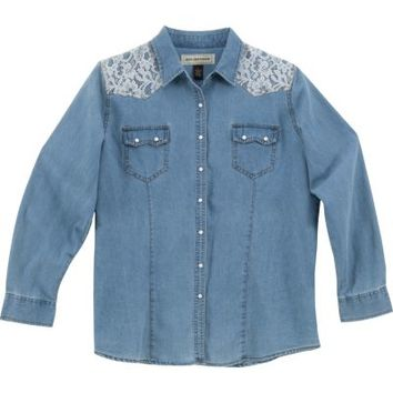 Bit & Bridle™ Ladies' Long Sleeve Western Denim, Light Wash Blue