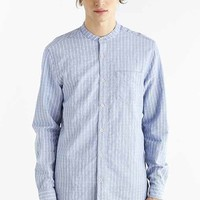 Your Neighbors Textured Stripe Mandarin Collar Shirt- Blue
