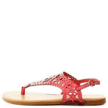 Bamboo Laser Cut-Out Slingback Thong Sandals - Coral