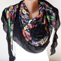 Black - multicolor flower Scarf from %100 coton with flora desing and rose