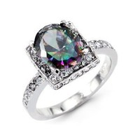 Amazon.com: Women&#x27;s Mystic Fire Topaz Round CZ 14k White Gold Ring: Jewelry