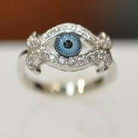 Amazon.com: Silver &amp; Cz Evil Eye Ring: Jewelry
