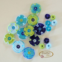 Lampwork Flower Glass Beads, Lampwork Beads Set,  Handmade Lampwork Glass Beads Disc Set (18 )