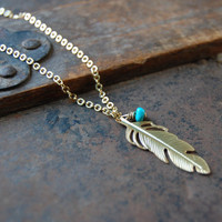 Golden feather with turquoise necklace, mother, wife, sister, daughter, bridesmaid gift, birthday, wedding jewelry, fall fashion,