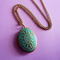 Antiqued Patina Brass Locket