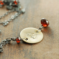 Garnet Heart Brass Pendant Necklace, Valentine's Day Jewelry, Mixed Metal Necklace, Sterling Silver Heart Necklace
