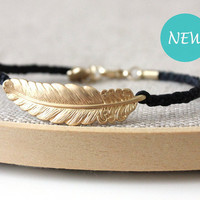 Feather bracelet  black and gold
