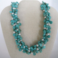 Turquoise Teardrop Shaped Beads with White Freshwater Pearls Triple Strand Necklace Silver Toggle Fashion Gift under 50