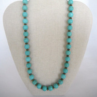 Turquoise Rounds with Brass Disc Spacers Necklace Gift Fashion under 40