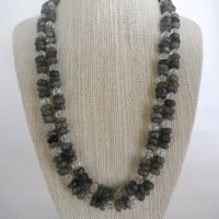 Labradorite Rondelle Beads with Crystal Spacers Double Strand Necklace Brass Toggle Fashion Gift under 60