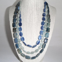 Aquamarine and Kyanite Necklace Blue Green Marine Aqua Triple Stunning Gift fashion under 60