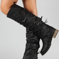 Wild Diva Lounge Bojana-01 Slouchy Buckle Knee High Boot