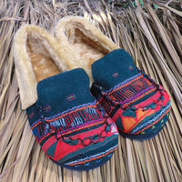 Womens Slippers in Colorful Tribal Akha Embroidery with Plush Lining