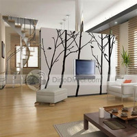 Home Decor 260cm Hight Five Big Trees Wall Sticker Wall Decal - Default