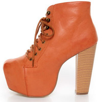 Shoe Republic LA Step Orange Lace-Up Platform Ankle Boots - $53.00